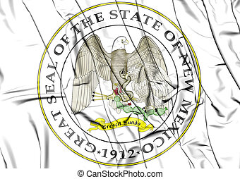 3D State Seal of New Mexico, USA.