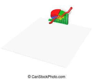 3D statistics chart on blank paper