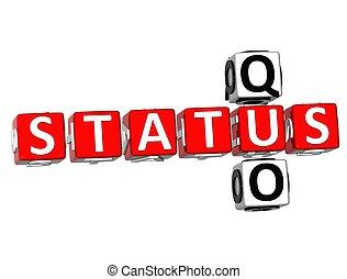 Status Quo Crossword - 3D Status Quo Crossword on white ...
