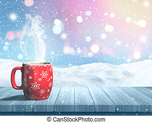 3D steaming Christmas mug on a wooden table against a snowy landscape