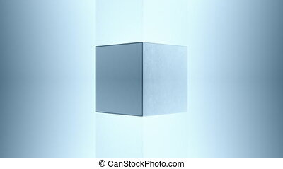 3D steel cube, 4K computer generated animation