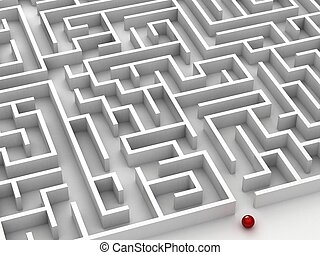 3D steel maze - 3D maze on the white background