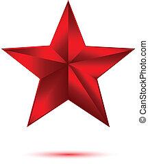 3d, stella rossa, bianco