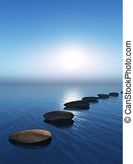 3D stepping stones in the ocean - 3D render of stepping ...
