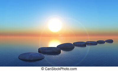3D stepping stones in the ocean at sunset - 3D render of...