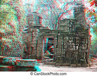 Angkor Wat - 3D stereo photo Angkor Wat - ancient Khmer ...