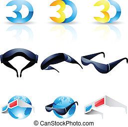 3d, stereoscopic, óculos