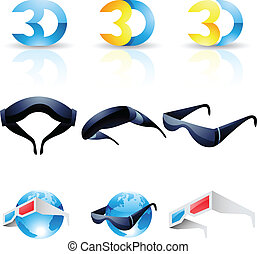 3D stereoscopic glasses isolated on a white background