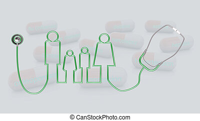 3d stethoscope and family icon illustration