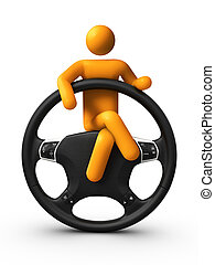 Sitting on Steering wheel - 3D stick figure Sitting on...