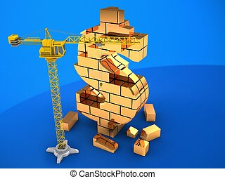 3d illustration of  over blue background with crane