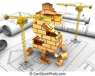 3d illustration of  over drawings background with crane