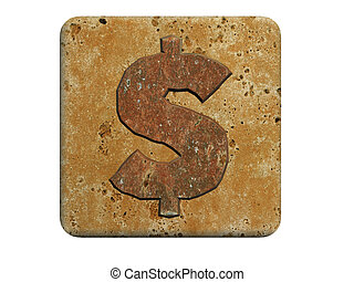 3d stone dollar mark ,on a white isolated background.