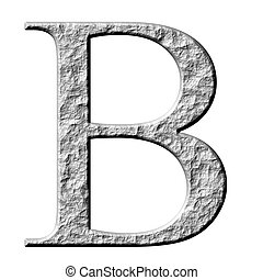 3d stone Greek letter Beta isolated in white