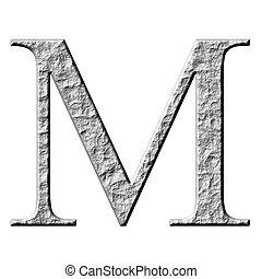 3D Stone Greek Letter My