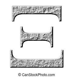 3D Stone Greek Letter Xi