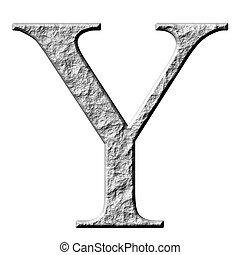 3D Stone Greek Letter Ypsilon