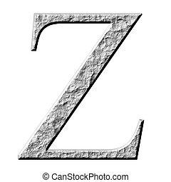 3D Stone Greek Letter Zeta