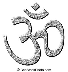 3D Stone Hinduism Symbol - 3d stone hinduism symbol isolated...