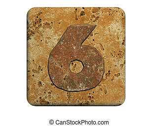3d stone six  number , on a white isolated background.