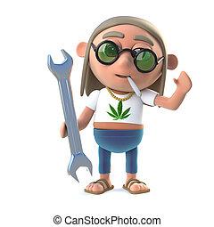 3d Stoner hippie holding a spanner - 3d render of a hippie...