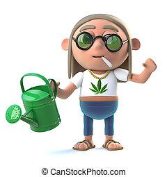 3d Stoner hippie waters his plants - 3d render of a hippie...