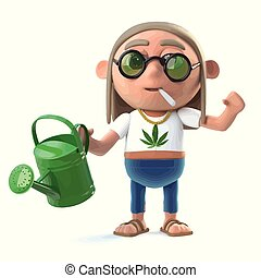 3d Stoner hippie waters his plants - 3d render of a hippie...
