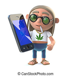 3d Stoner hippie with a new smartphone tablet device - 3d...
