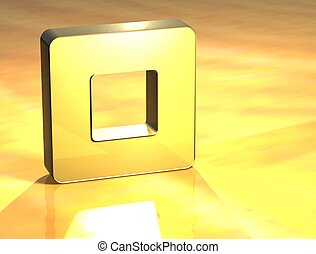 3D Stop Gold Sign