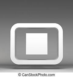 3d stop icon