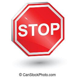 3d, stop sign , vector