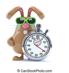 3d Stopwatch bunny