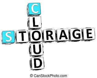 3D Storage Cloud Crossword cube words