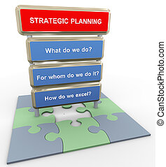 3d render of questions related to strategic planning on puzzle peaces