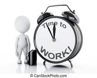 3d Stressed white people with alarm clock. Time to Work. -...