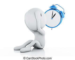 3d Stressed white people with alarm clock - 3d renderer...