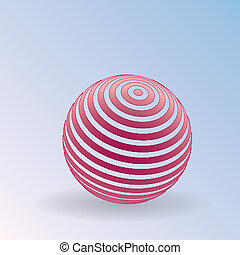 3D Striped ball icon. Sphere logo with lines of red and white on a plane. Jpeg