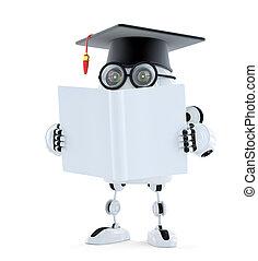 3d, student, robot, met, leeg, book., isolated., bevat, knippend pad, van, robot, en, boek