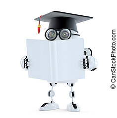 3d Student robot with blank book. Isolated. Contains clipping path of robot and book