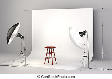 3d studio setup with lights, a wooden chair and white...