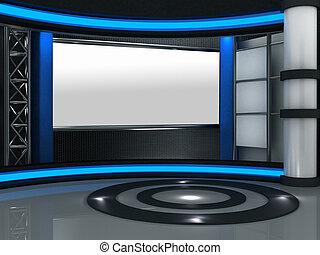 3d, studio, telewizja, faktyczny, komplet