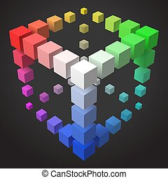 3d style cubic frame design with cubes.