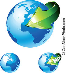 Earth Globe with an Arrow showing a recycle concept