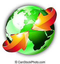 Earth Globe with an Arrows showing a recycle concept