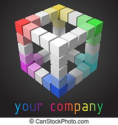 3d style vector logo design with cubes.