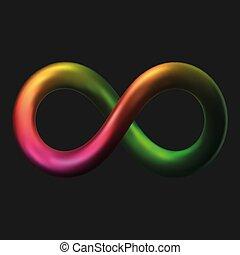 3d styled metal infinity symbol. vector illustration