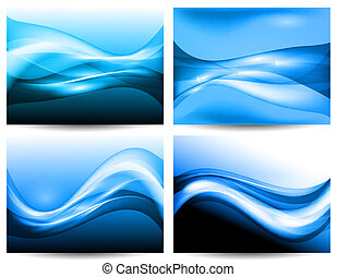 3d stylized water waves, vector - vector 3d waves, EPS10...