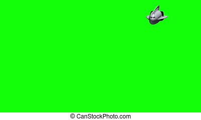 3D submarine before green screen - Animation of a futuristic...