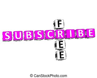 3D Subscribe Free Crossword on white background