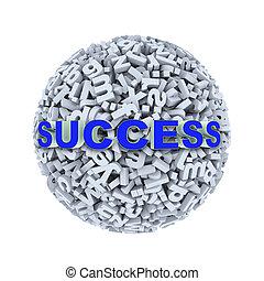 3d success - alphabet letter character sphere ball